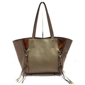 Auth Chloe Milo Tote Bag Leather Gray #7838C29